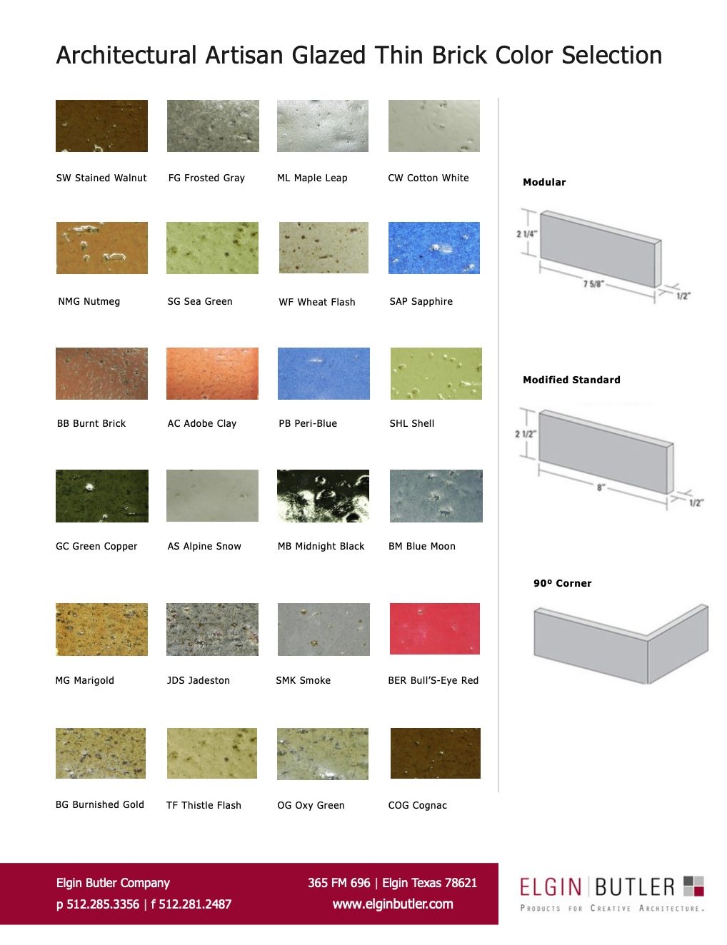 Architectural Artisan Glazed Thin Brick Color Selection Guide